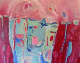 Botanical Art, Garden Art, Marsala Inspired, Original Acrylic Abstract, Floral Painting on Canvas, Wall Art, Canvas Art, Red Art, Blue Art