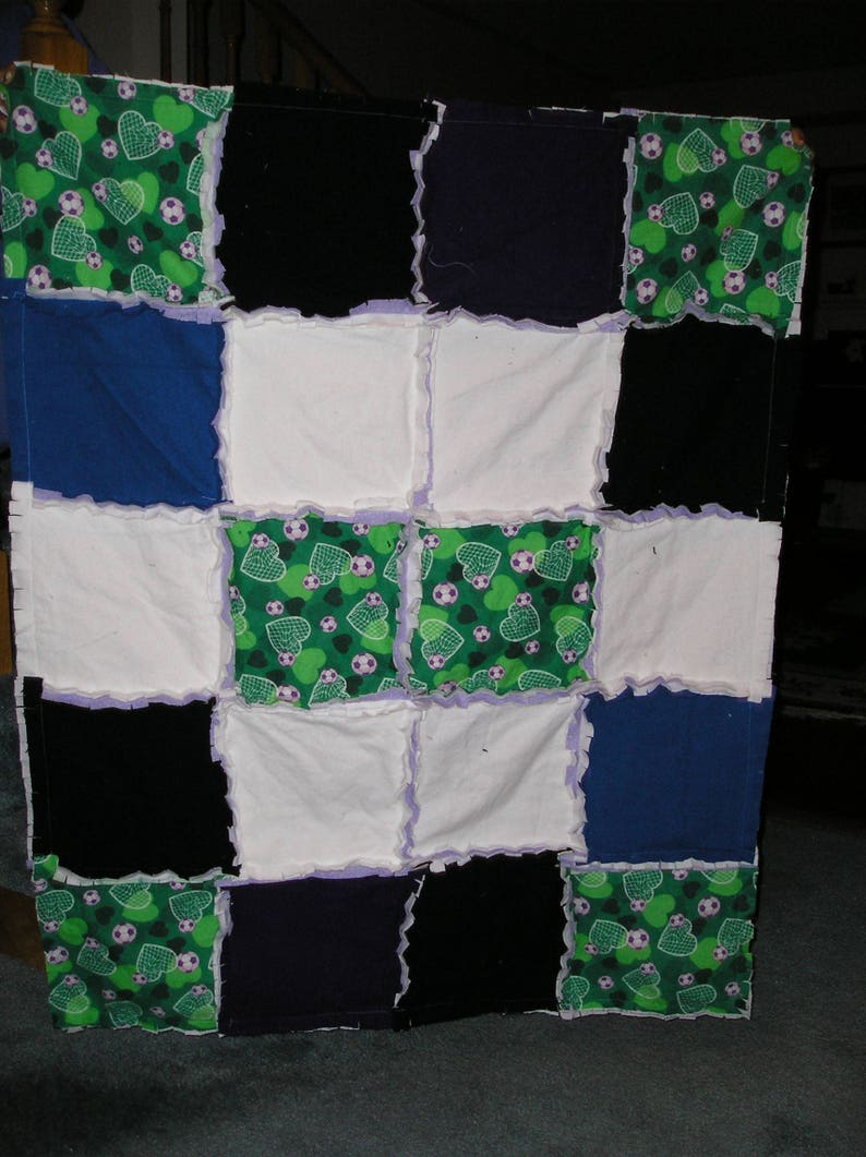 Baby Blanket Soccer Rag Blanket made from Cozy Flannel Fabric