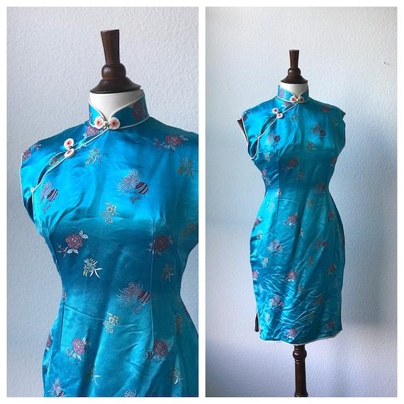 Vintage teal silk qipao sz S