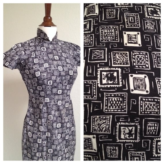 Vintage black and white qipao S - image 3