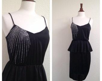 vintage bombshell peplum black dress S