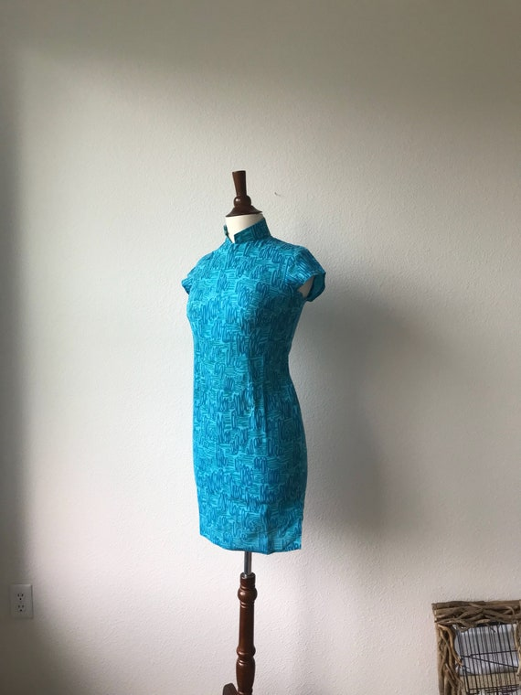 Vintage teal squiggles cotton qipao 1940s sz xs - image 3