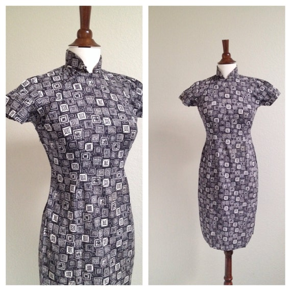 Vintage black and white qipao S