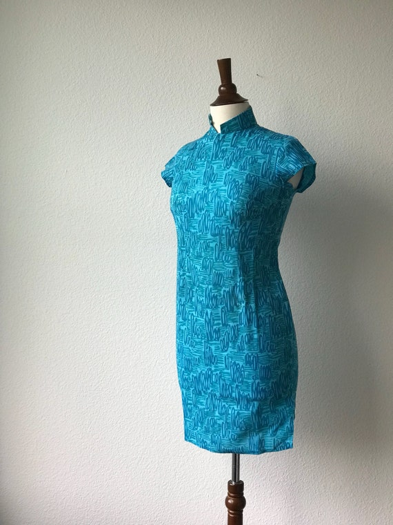 Vintage teal squiggles cotton qipao 1940s sz xs - image 8