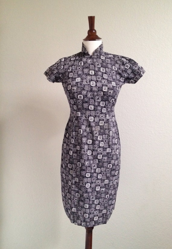 Vintage black and white qipao S - image 4
