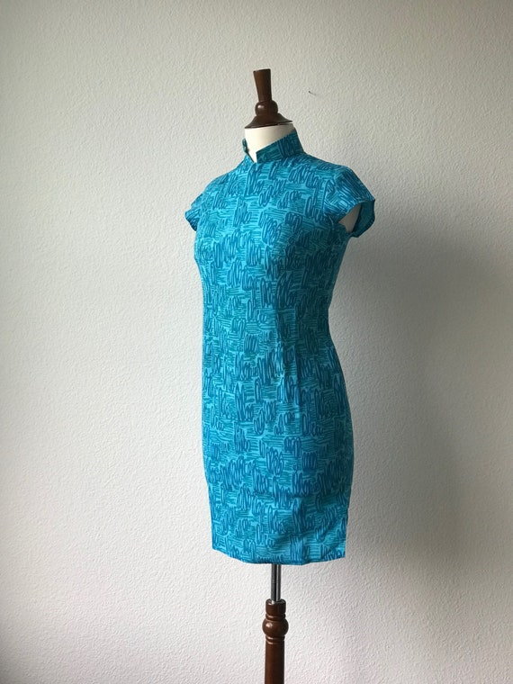 Vintage teal squiggles cotton qipao 1940s sz xs - image 6