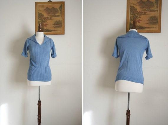 vintage Cornflower blue 50's collar sweater blouse