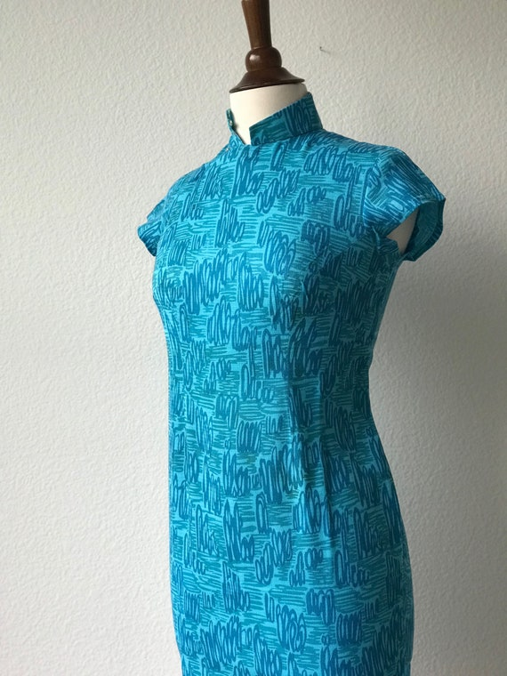 Vintage teal squiggles cotton qipao 1940s sz xs - image 5