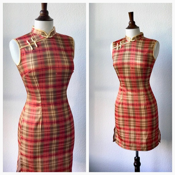 Vintage orange plaid qipao dress  sz XS 1960s