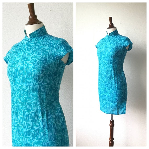 Vintage teal squiggles cotton qipao 1940s sz xs - image 2