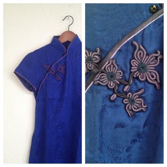 Vintage blue silk qipao sz S