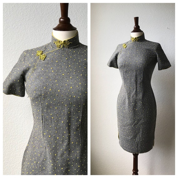 vintage grey qipao with yellow polka dots sz xs