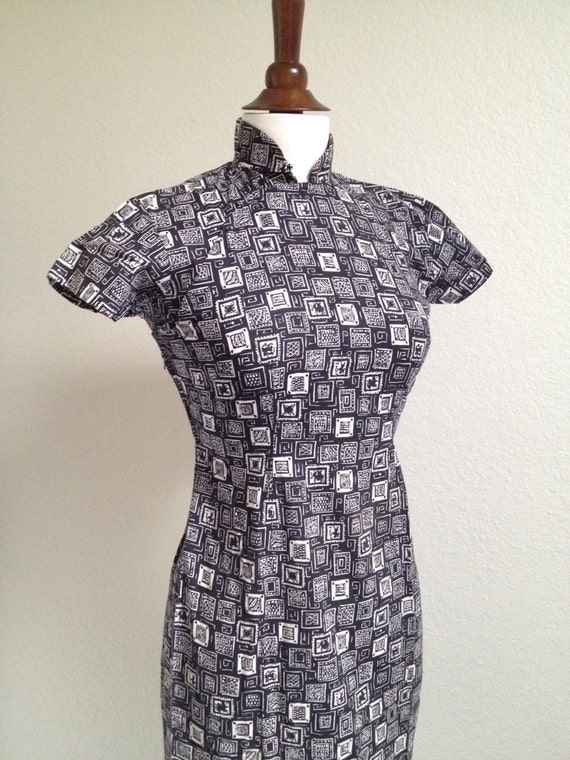 Vintage black and white qipao S - image 5