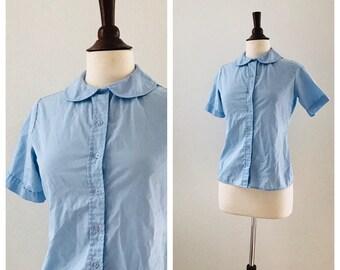 Vintage blue schoolgirl Peter Pan collar blouse sz XS