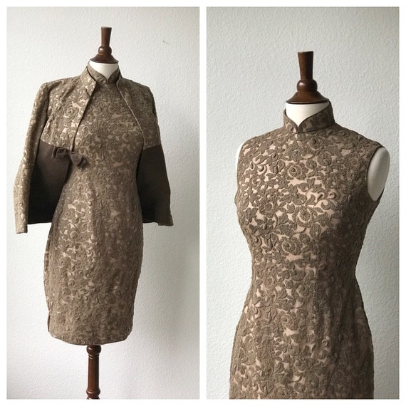 Vintage brown lace qipao and jacket set sz S