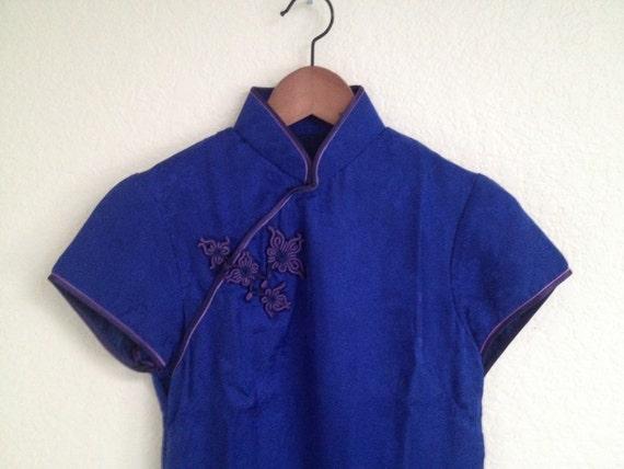 Vintage blue silk qipao sz S - image 4