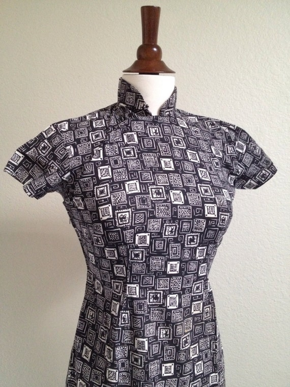 Vintage black and white qipao S - image 2