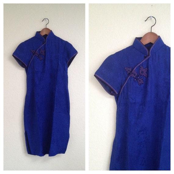 Vintage blue silk qipao sz S - image 2