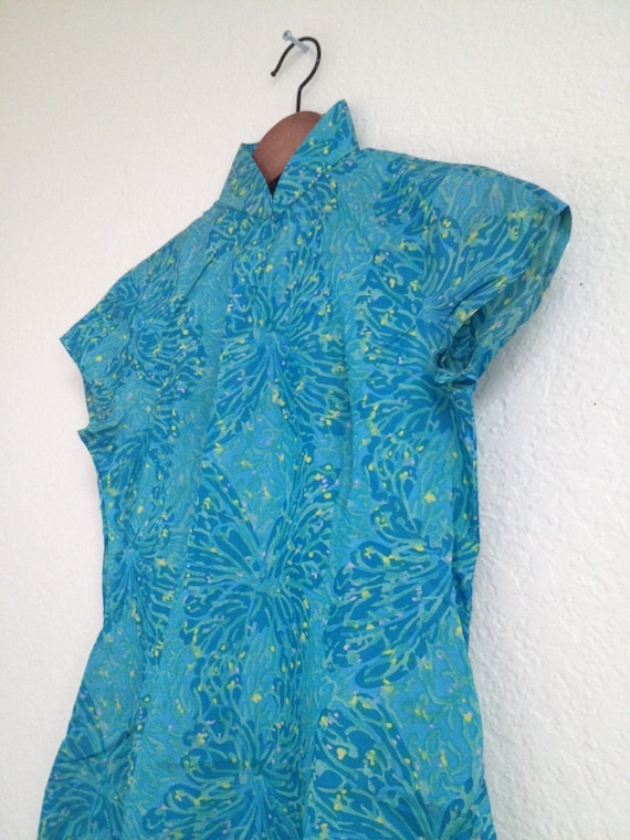 Vintage Butterfly Splash Watercolour qipao sz XS