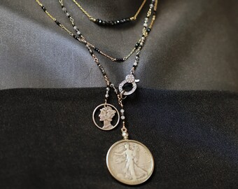 Walking Lady Liberty and Mercury Dime Necklace by Marisa Youlden