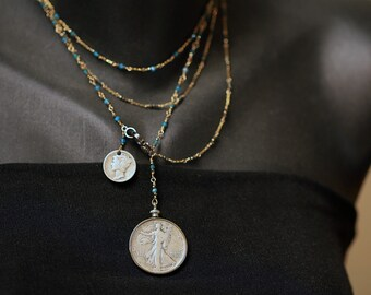 Standing Lady Liberty & Mercury Dime Necklace by MYJ