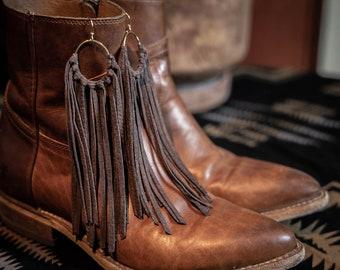Hand Cut Brown Leather Fringe Hoop Earrings by MYJ