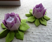 Origami Paper Lotus Lanterns- set of 2 pink, free shipping