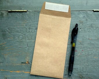 """50 X-Large Packet Envelopes, Recycled Grocery Bag Kraft Brown, XL Favor packets, extra large seed packets, 3 1/2"""" x 6 1/2"""" (89 x 165mm)"""