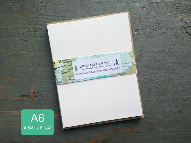 100 A6 FLAT Cards & Envelopes 100% Recycled Blank image 0