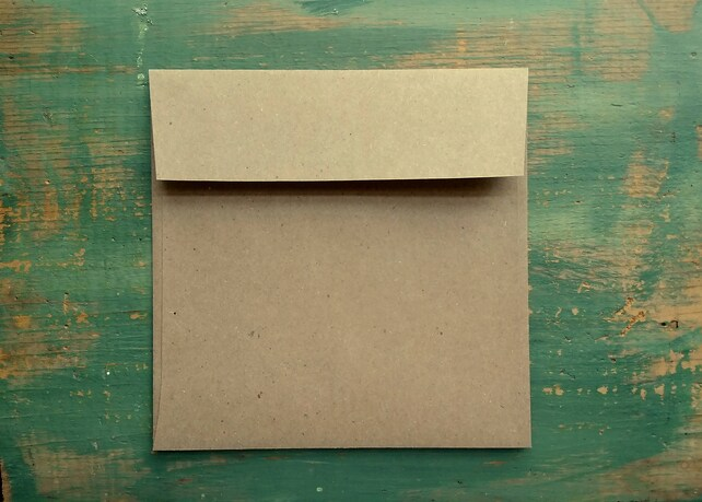 """100 Square Envelopes, 5"""", 5.25"""", or 5.75"""" (127, 133, or 146mm) kraft brown, recycled square envelopes, sticker flap adhesive, eco-friendly"""