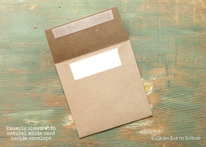 100 Mini Square 3 Folded Cards with 3.25 Kraft image 0