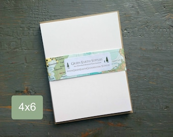 """25 4 x 6"""" Folded Cards with Kraft Envelopes, 100% Recycled, Blank Greeting/Photo Cards/Invitations, 4x6"""", 80-100lb, white or natural white"""