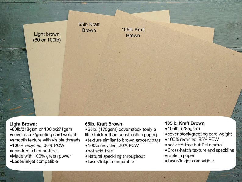 100/% Recycled 8.5x11 Cardstock 8 12x11 65-100lb cover 100 Sheets Kraft Card Stock 216x279mm grocery bag kraft brown or light brown