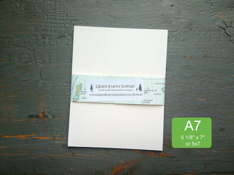 100 A7 FLAT Cards only 100% Recycled Blank image 0