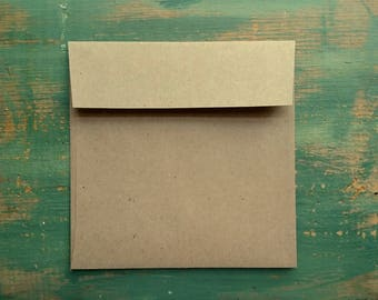 """25 Square Envelopes, 5"""", 5.25"""", or 5.75"""" (127, 133, or 146mm) kraft brown, recycled envelopes, sticker flap adhesive, eco friendly"""