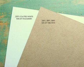 """100 chipboard sheets: 8.5 x 11"""" (216 x 279 mm) white or kraft brown chipboard, recycled, 22 pt (.022"""") or 30 pt (.030"""")"""