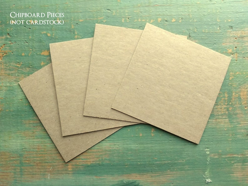 4x4 Chipboard Squares 22pt or 30pt Recycled Kraft Brown or White Chip board  22pt ( 022