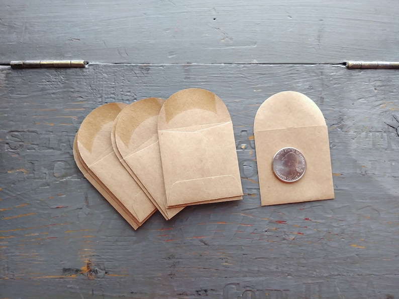 2x2 Mini Envelopes Kraft Brown coin envelopes miniature seed image 0
