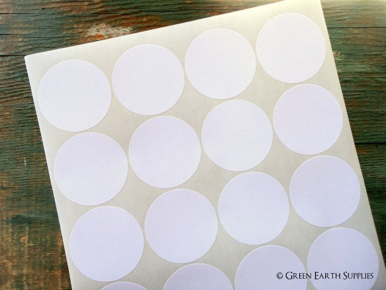 100 Recycled White Stickers 2 circles recycled image 0