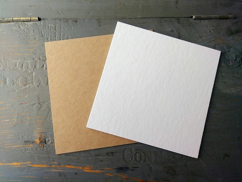 4x4 THICK Chipboard Squares 50pt Recycled Kraft Brown or White image 0