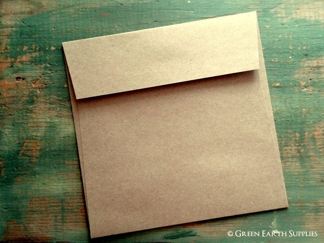 """25 Mini Square Envelopes, 3 1/4"""" (83mm) or 4"""" (102mm) Squared, Kraft Brown Envelopes, 3.25x3.25"""" or 4x4"""", grocery bag, recycled eco-friendly"""