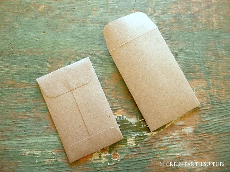 100 Mini Seed Packet Envelopes Kraft Brown Business Card