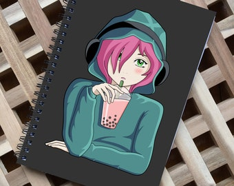 Anime Girl Spiral Notebook Size A5 - Listening To Music And Drinking Bubble Tea - 60 Pages - Lined or Grid Graph Paper