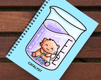 Catalyst Pun Spiral Notebook Size A5 - Cute Cat Chemistry Science Notebook - 60 Pages - Lined or Grid Graph Paper