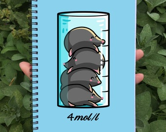Moles Per Litre Spiral Notebook Size A5 - Cute Chemistry Science Joke Notebook - 60 Pages - Lined or Grid Graph Paper