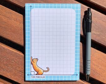 Purr-pendicular Notepad Size A6, Cute Cat Maths Pun, 50 Tear Off Graph Paper Sheets