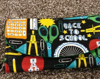 School items wallet, change purse, coin purse, small purse, money holder, scissors, calculator