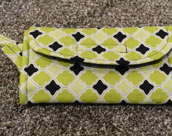 Lime green and black wallet, change purse, coin purse, small purse, money holder