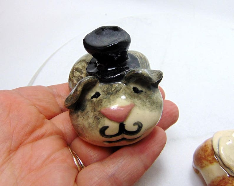 Sculpted Pottery Animal Cake Toppers Guinea Pig Wedding Cake Toppers