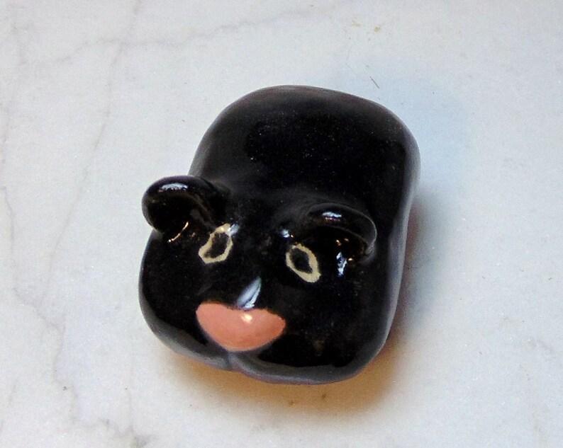 Black Hamster Miniature Terrarium Ceramic Figurine Etsy